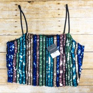 TOPSHOP Sequin Multi Colored Party Top